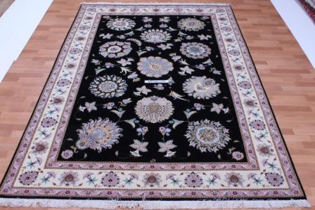 55 Raj Faraji Tabriz Persian rug with a silk foundation. 10x6 silk Faraji Tabriz Persian carpet