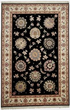 55 Raj Faraji Tabriz Persian rug with a silk foundation. 10x6 silk Faraji Tabriz Persian carpet