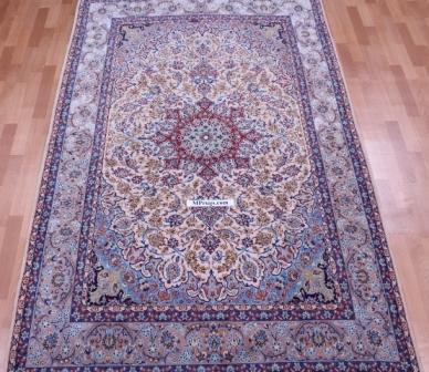 8x5 Isfahan Persian rug, silk Isfahan carpet.