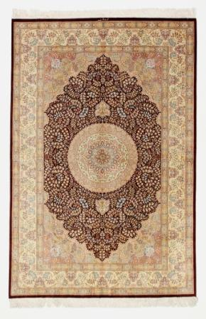 Gorgeous high quality pure silk Qom Persian rug. Genuine handmade silk qum Persian carpet showpiece featuring red and beige colors.