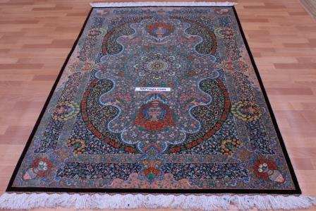 6x4 silk Qum Persian rug with 800 KPSI & Signature