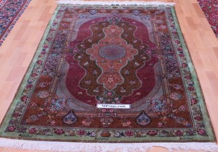 6x4 1400-1500kpsi pure silk qum Persian rug; Jamshidi Qom Persian carpet 1500kpsi. Pure silk qom Persian rug masterpiece