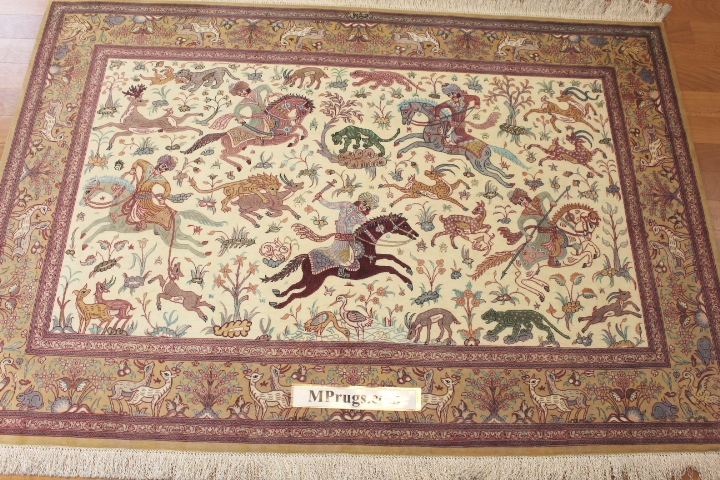 3x5 800 kpsi hunting pictorial qum Persian rug with signature