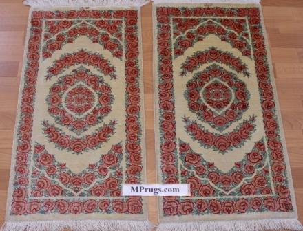 3x2 silk Twin qum Persian rug, signed qom carpet