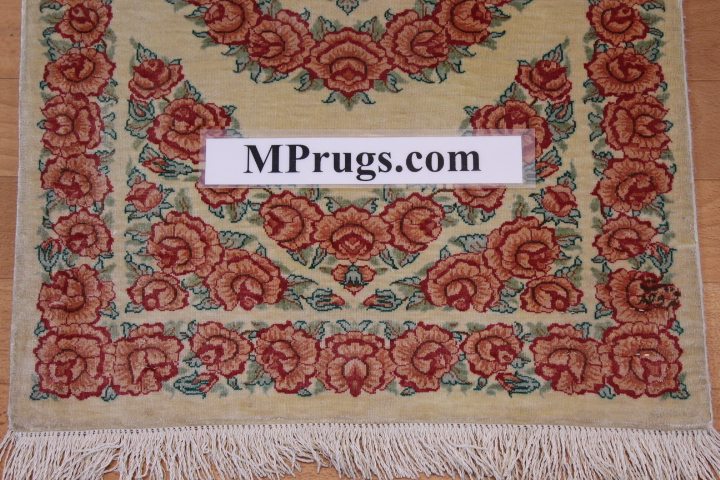 3x2 silk qum Persian rug, signed qom carpet
