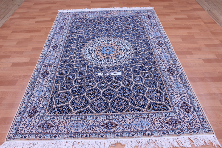 7x5 genuine 6-Lah Nain Gombad Persian carpet with silk