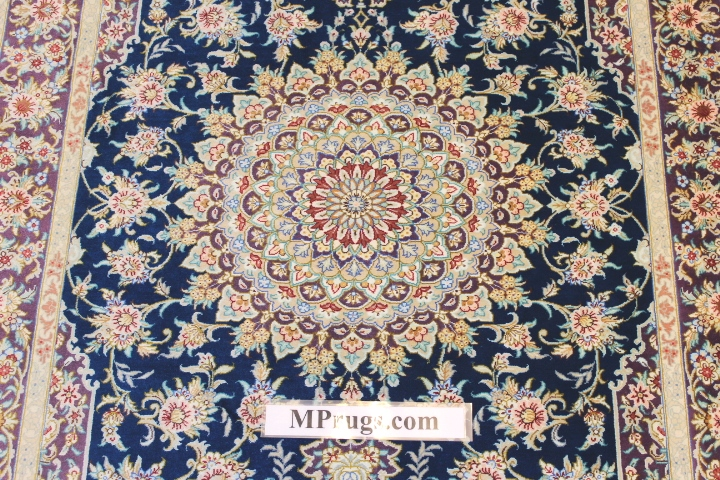 3x5 blue silk qum Persian rug with signature