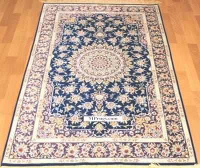 3x5 blue silk qum Persian rug with signature