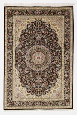7x5 brown Qom silk Persian rugs. Pure Silk Qum Persian carpet with over 600KPSI