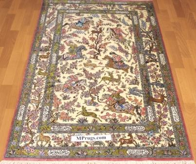 3x5 qum Persian rug with signature