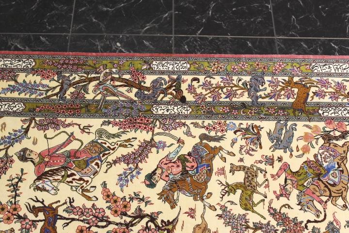 3x5 silk qum Persian rug with hunting design; Handmade pictorial Qum silk carpet