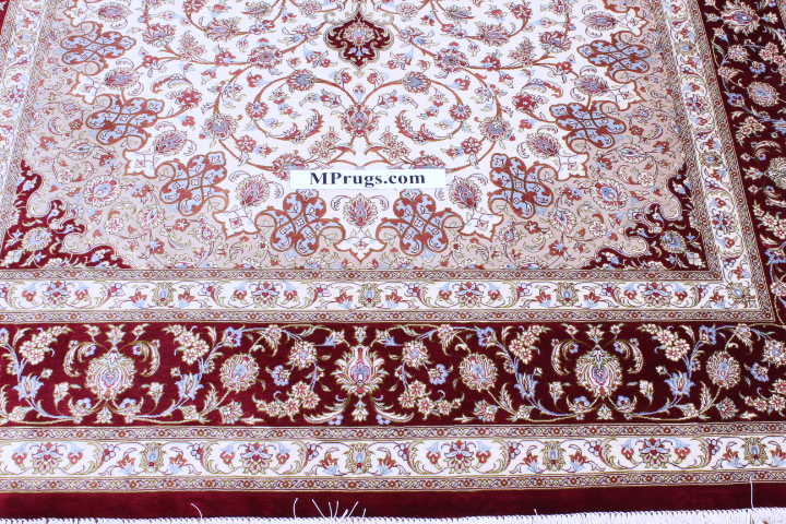 Beige red 7x5 Qom silk Persian rugs. Pure Silk Qum Persian carpet with beige and red colors.