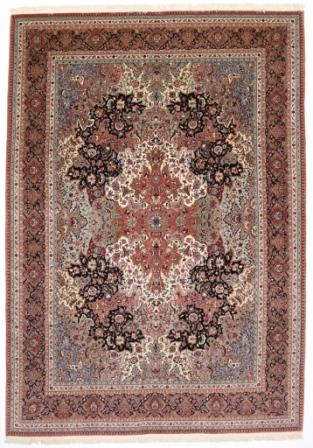 55 Raj Tabriz Persian rug with a silk foundation. Showpiece Tabriz Persian carpet with silk and 400 kpsi.