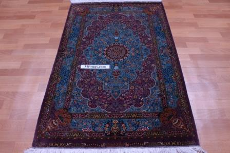 5'x3' 800+kpsi Qum pure silk Qom Persian rug