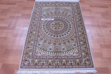 5'x3' pure silk Qum Persian rug with Gonbad Design 800 KPSI