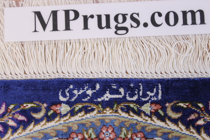 4x2 900 kpsi qum Persian rug, signed qom carpet
