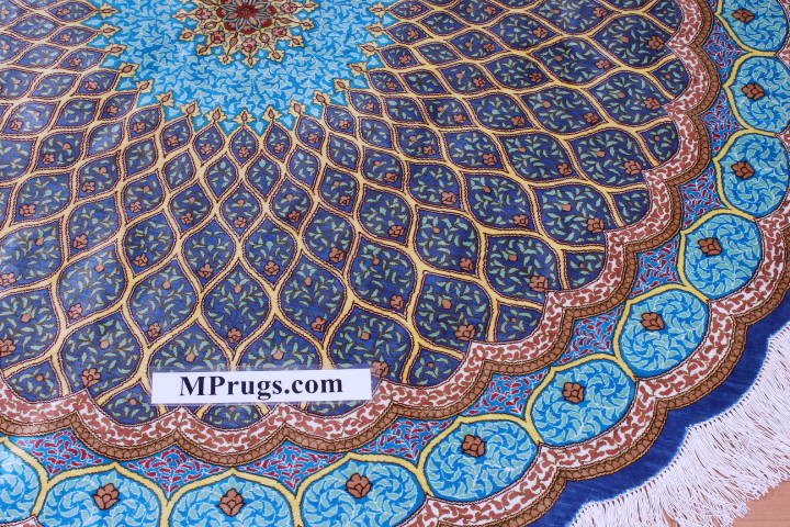 5' (1,5m) round Qum pure silk Qom Persian rug with Gonbad design