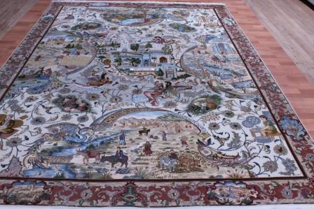 8x11 Pictorial Silk Foundation Tabriz Masterpiece 70 Raj