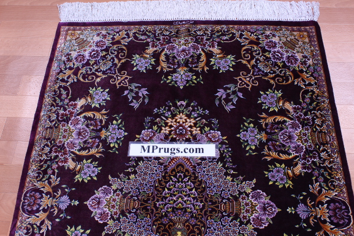 4x2 silk qum Persian rug 650 kpsi, silk Qom carpet