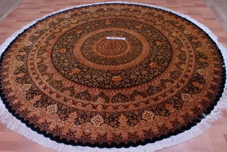 8' (2,5m) Round pure silk Qum Persian rug with Gonbad Design