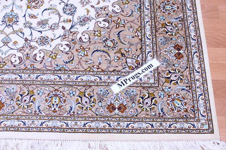 8x5 beige Qom silk Persian rug. Pure Silk Qum Persian carpet with beige color and 700KPSI