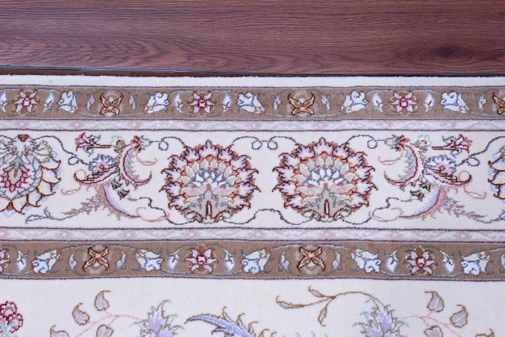 8x6 silk Tabriz Persian rug, 350 KPSI 50 raj handmade Tabriz carpet.
