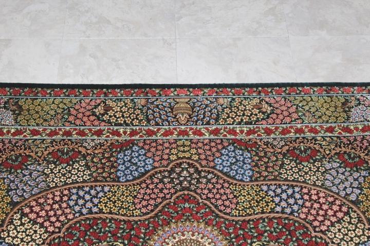 5x3 silk qom Persian rug with 900kpsi; dark green floral pure silk Qum Persian carpet. Genuine pure silk qom Persian rug