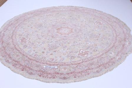 60 Raj round silk Tabriz Persian rug made by shirfar. Beige round Tabriz Persian carpet.