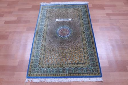 4'x2' pure silk Qum Persian rug with Gonbad Design