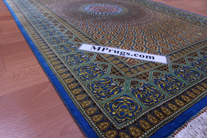 4'x2' pure silk Qum Persian rug with Gonbad Design