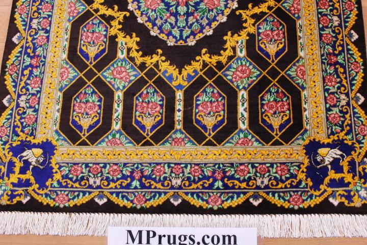 3x2 silk qum Persian rug, signed qom carpet