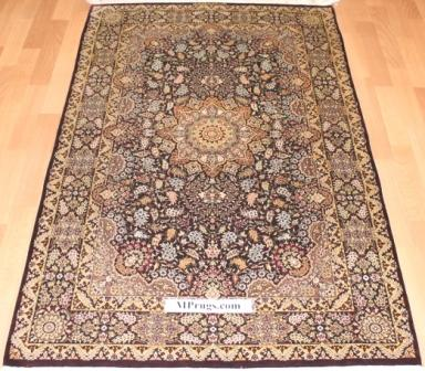 5x3 silk qom Persian rug with 800kpsi pure silk Qum Persian carpet. Genuine pure silk qom Persian rug