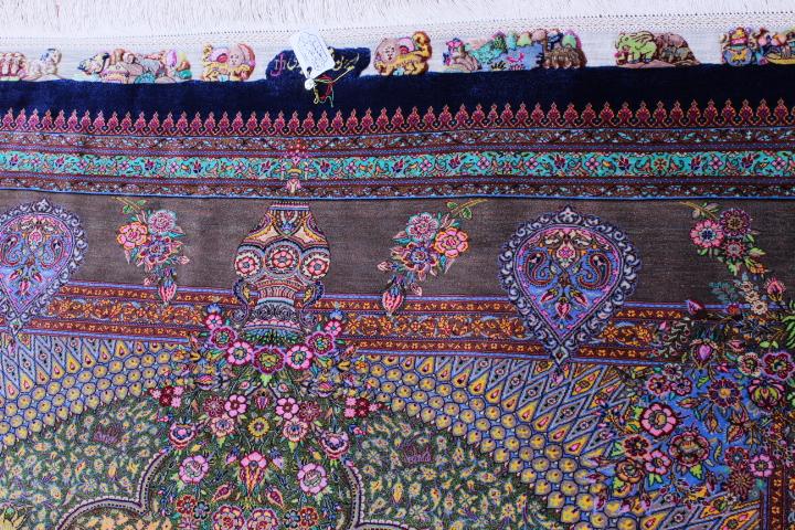6x4 1400-1500kpsi pure silk qum Persian rug; pure silk Qom Persian carpet 1500kpsi. Pure silk qom Persian rug masterpiece