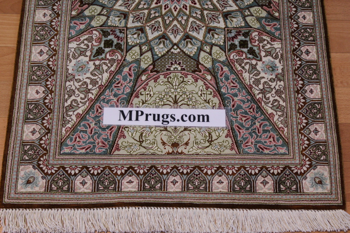 3x2 Gonbad qum Persian rug, signed qom carpet