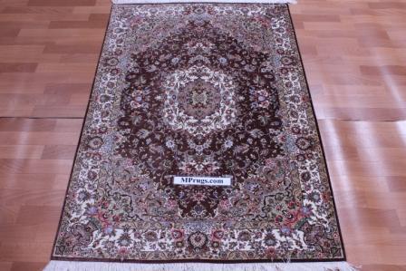 3x5 600 kpsi brown qum Persian rug with signature; 1x1,5m Qom silk carpet