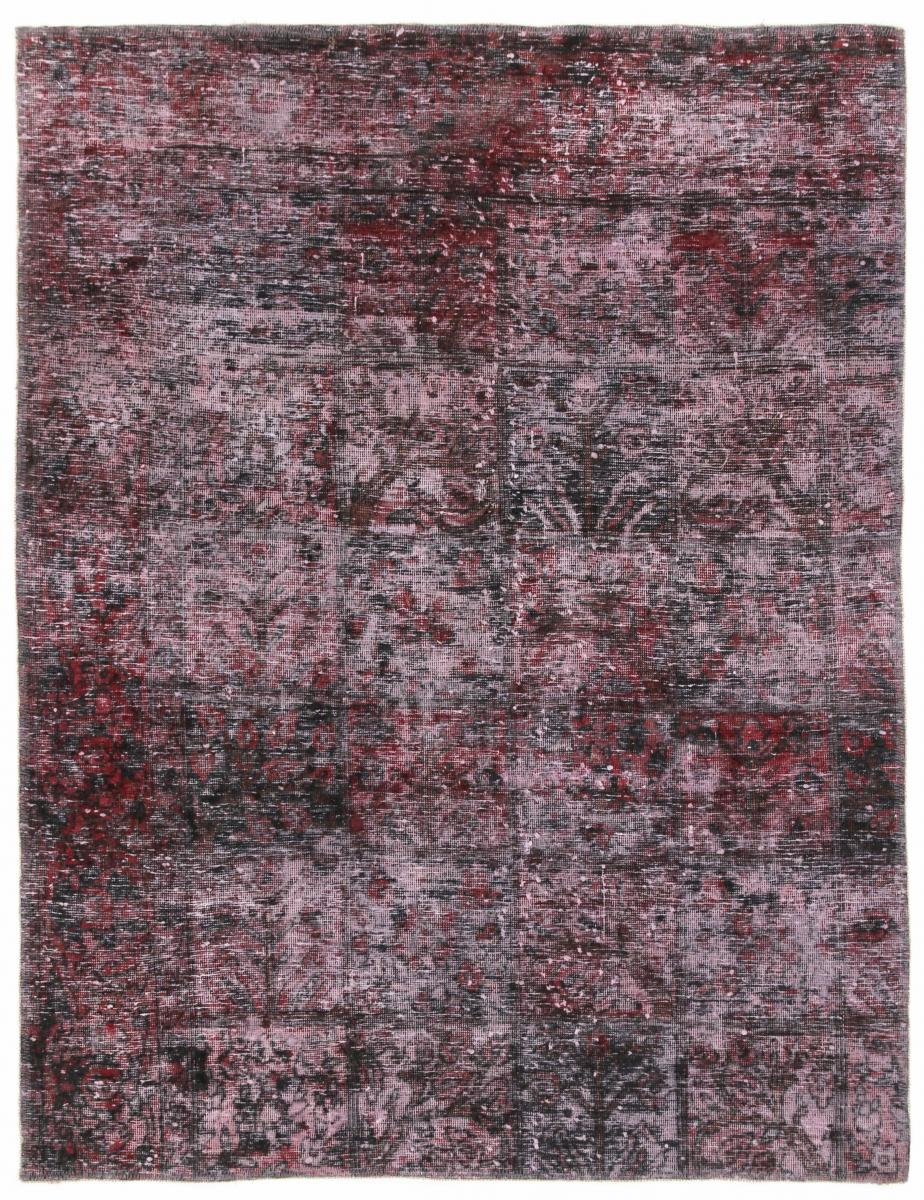 5x4 red dark Vintage Persian Rug, 150x120 dark persian vintage distressed persian carpet