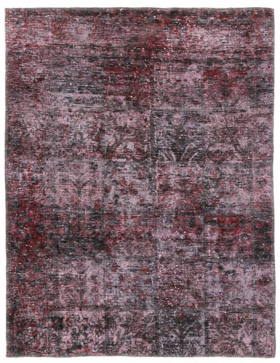 5x4 red dark Vintage Persian Rug, 150x120 dark persian vintage distressed persian carpet