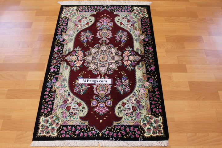 4x2 dark red silk qum Persian rug, signed qom carpet
