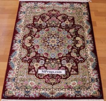 4x2 burgundy silk qum Persian rug with signature