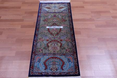 5' by 2' pure silk qum persian rug 800 kpsi