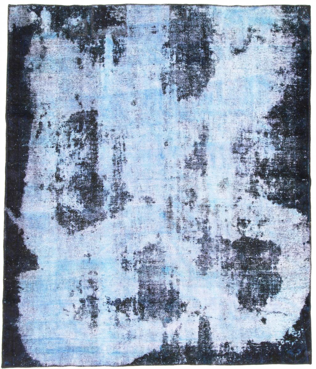 8x6 Vintage Persian Rug, 2,4m by 2m blue persian vintage distressed persian carpet