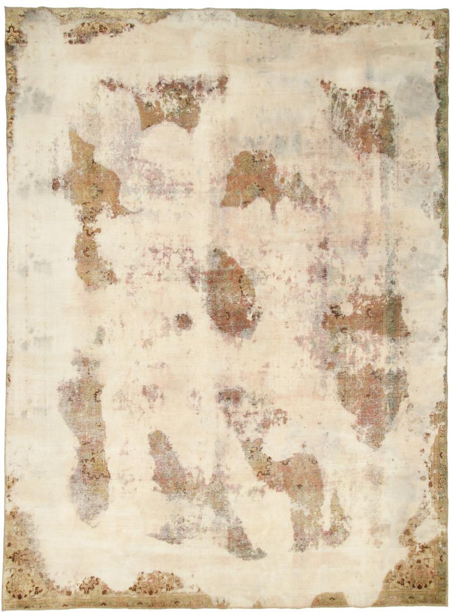 12x9 Vintage Persian Rug, 3.7x2.8m beige brown persian vintage distressed persian carpet