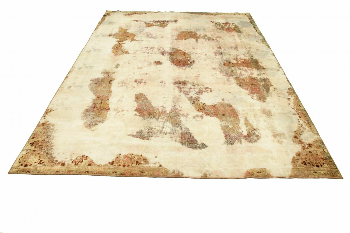 12x9 Vintage Persian Rug, 3.7x2.8m beige brown persian vintage distressed persian carpet