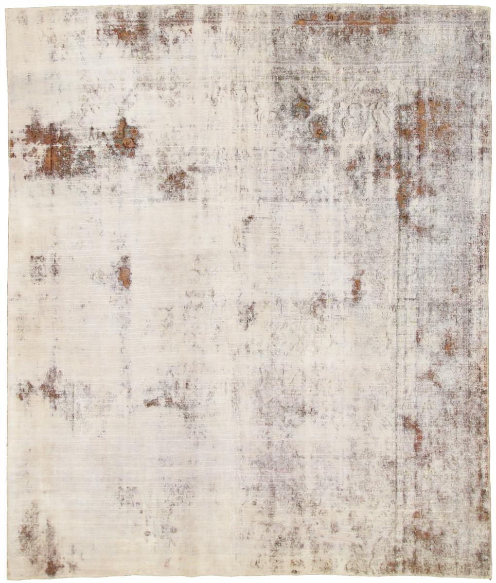 10x8 Vintage Persian Rug, 3.1mx2.6m beige brown persian vintage distressed persian carpet