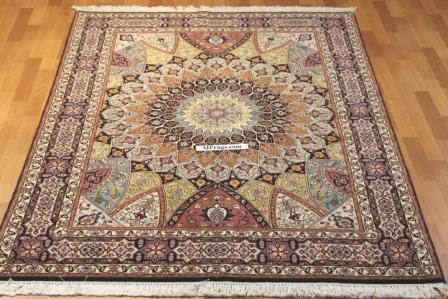 Gonbad Tabriz Persian rug, silk Gombad carpet.