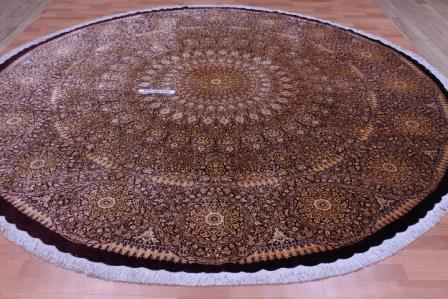 10' (3m) Round pure silk Qum Persian rug with Gonbad Design