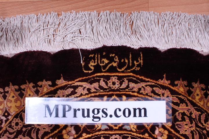 10' (3m) Round pure silk Qum Persian rug with Gonbad Design