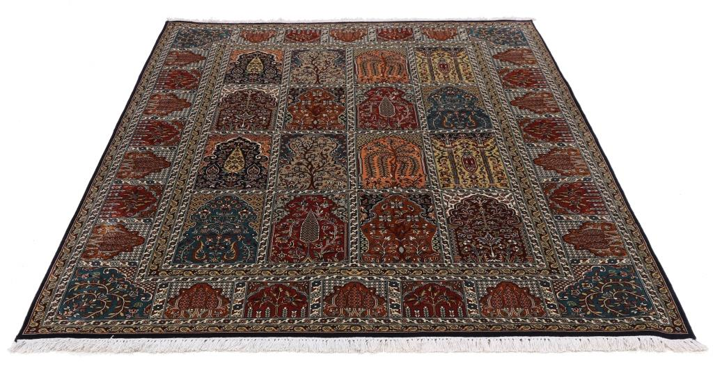 7'x5' (2,1x1,5m) silk Persian rug. High quality handmade Kashmir Persian carpet.