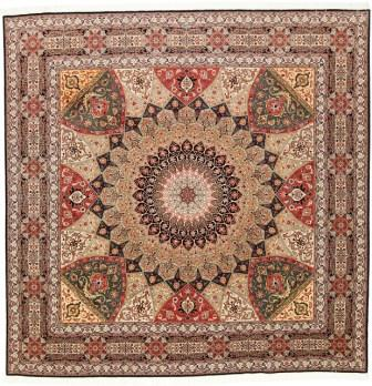Square 10' Gonbad Tabriz Persian rug. Dome Design Gombad Tabriz Persian carpet