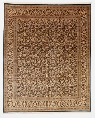 Large 9x7 black gold Qom silk Persian rugs. Pure Silk Qum Persian carpet with black gold colors.